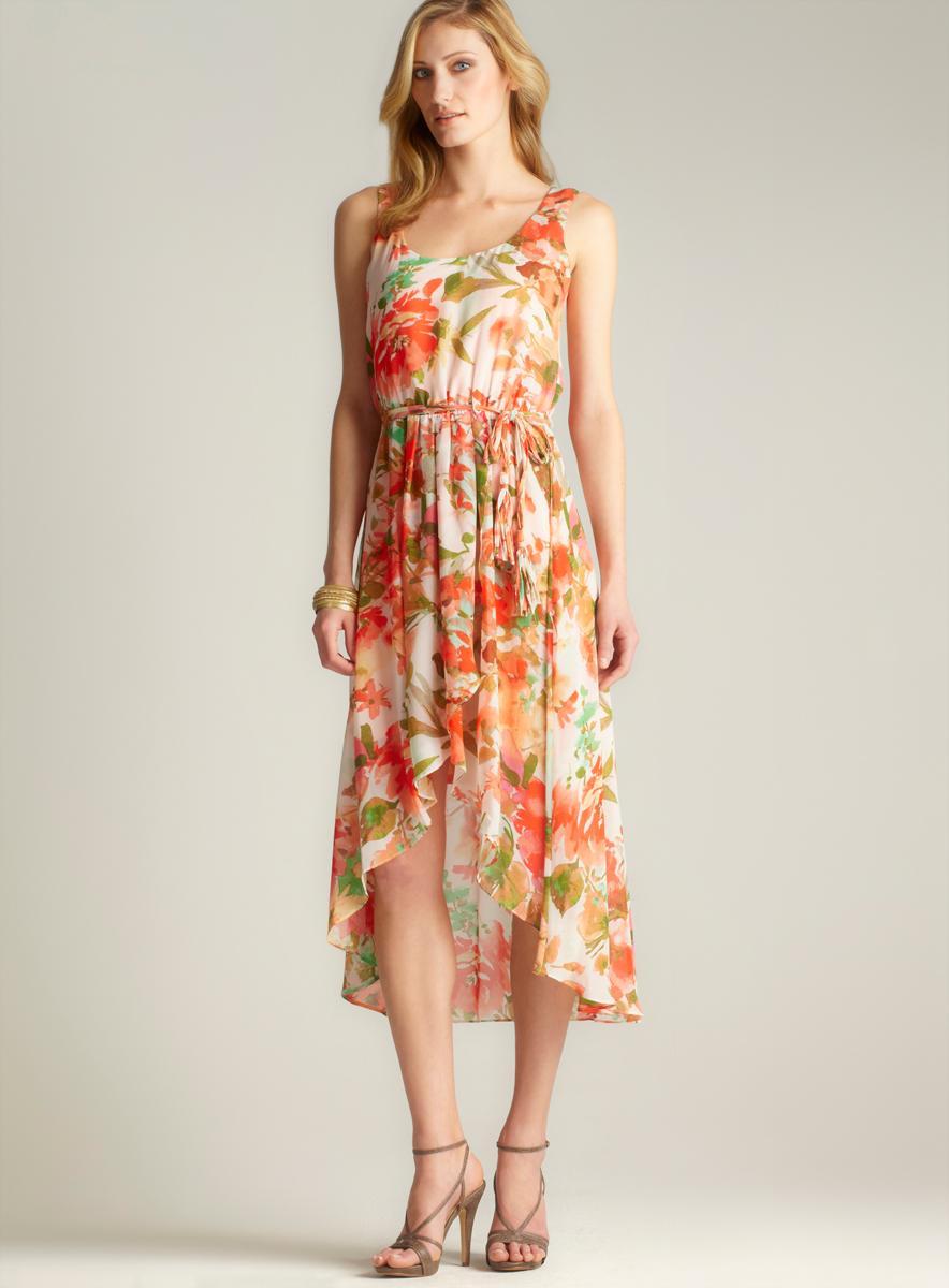 MSK Floral Hi-lo Dress