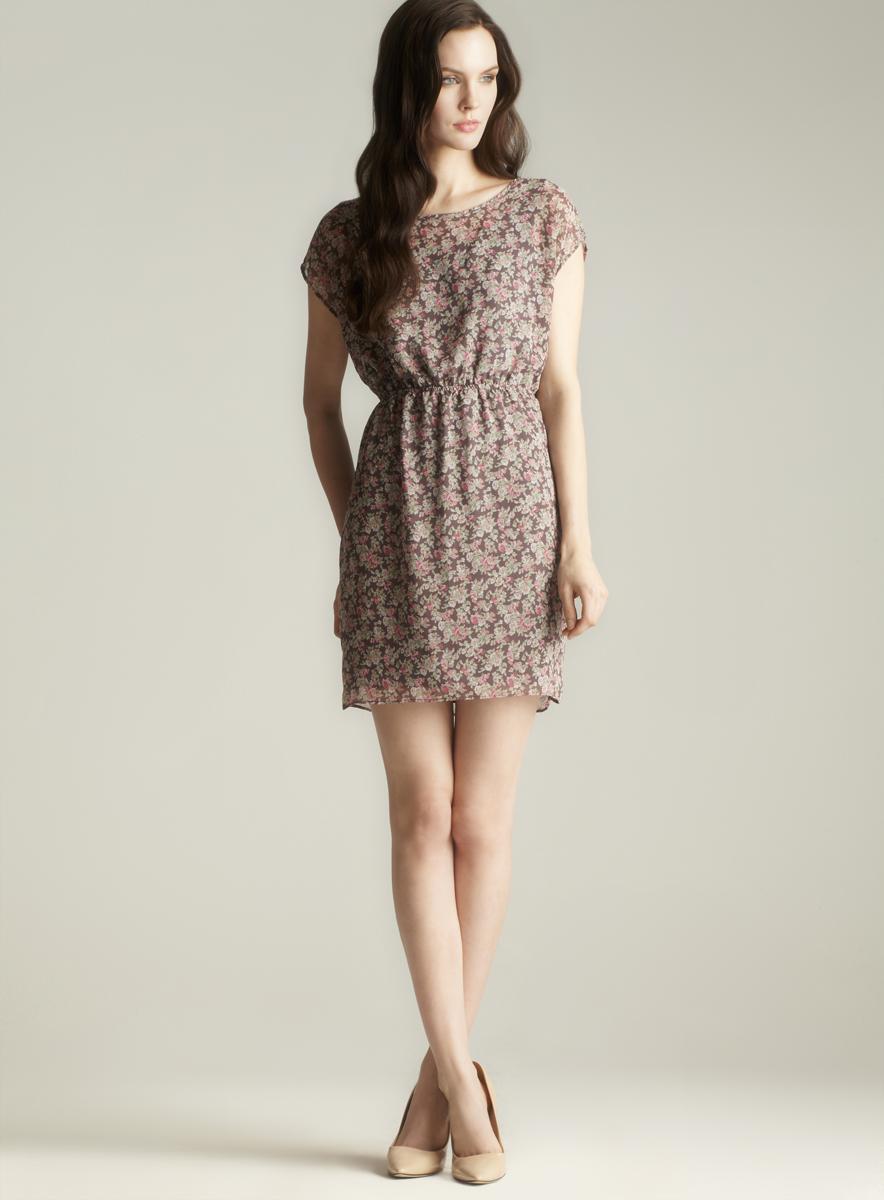 Soprano Floral Printed Short Sleeve Dress