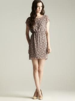Soprano Floral Printed Short Sleeve Dress