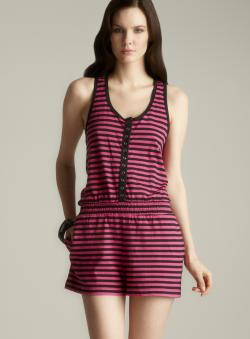 Betsey Johnson Racerback Striped Romper
