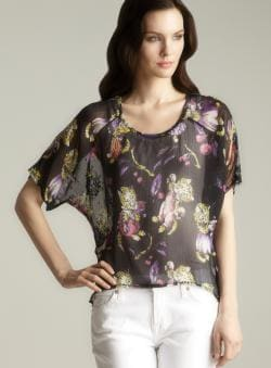 Betsey Johnson Sheer Hi-lo Printed Top