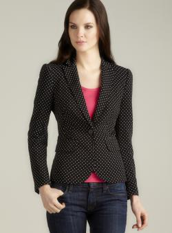 Isaac Mizrahi One Button Polka Dot Blazer