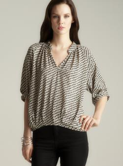 Rosettes Stand Collar V-neck Blouse