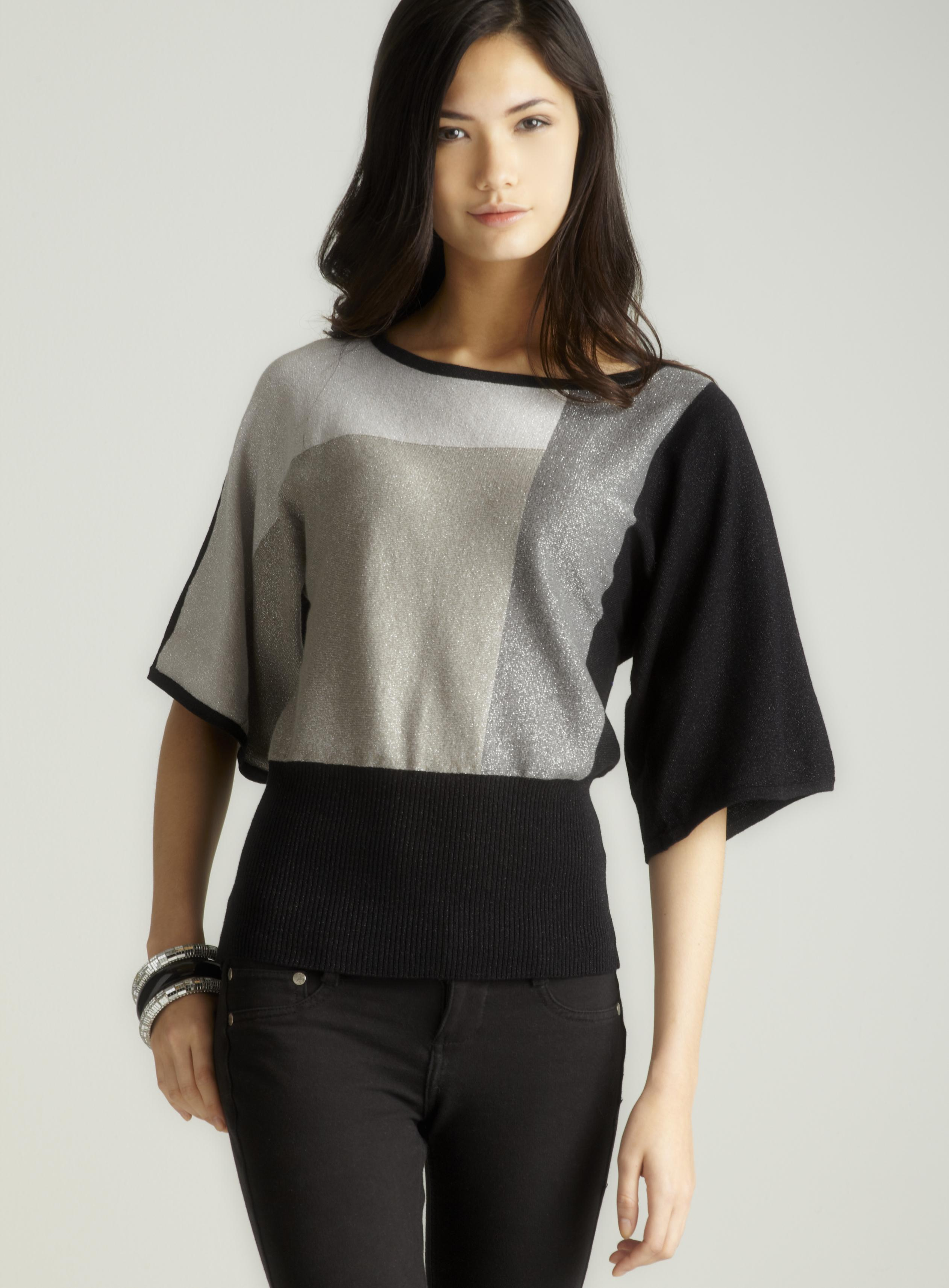 Cable & Gauge Lurex colorblocked sweater