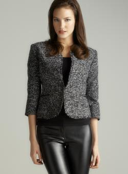Jaye.e. Faux Leather Lapel One-Button Blazer