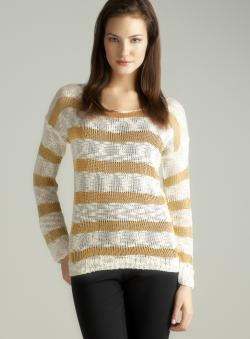 LAffaire Metallic strip sweater ivory