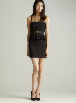 ROMEO&JULIET COUTURE Pleated peplum drs w/belt