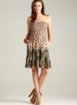Angie Strapless Smocked Bodice Short Dress