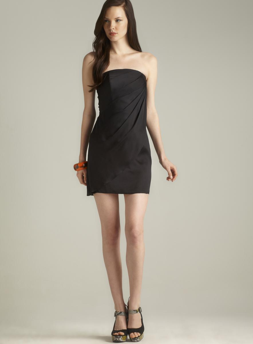 Rachel Zoe Strapless Side Draped Dress