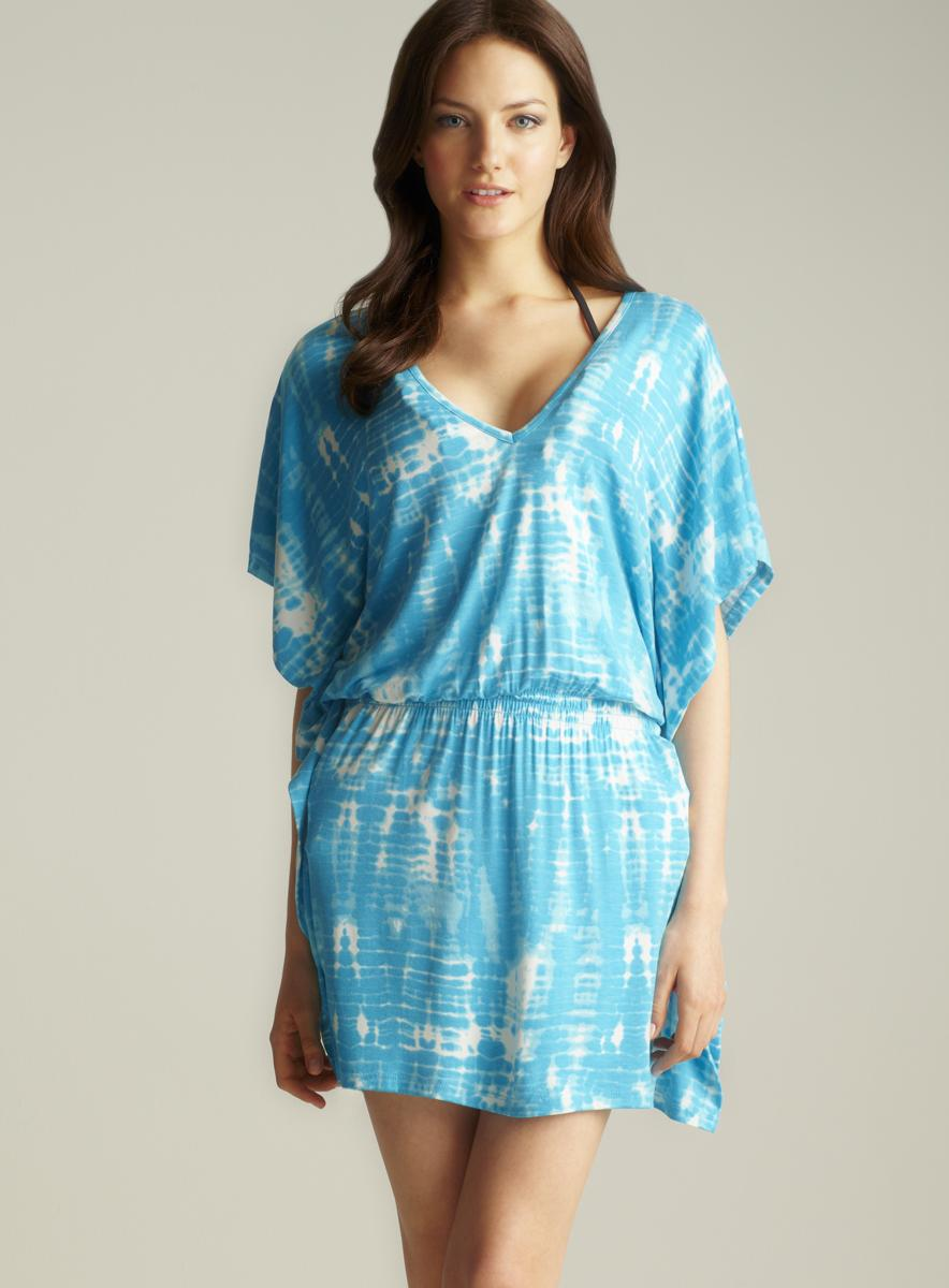 Club Z Collection Tie Dye V-neck Cover Up
