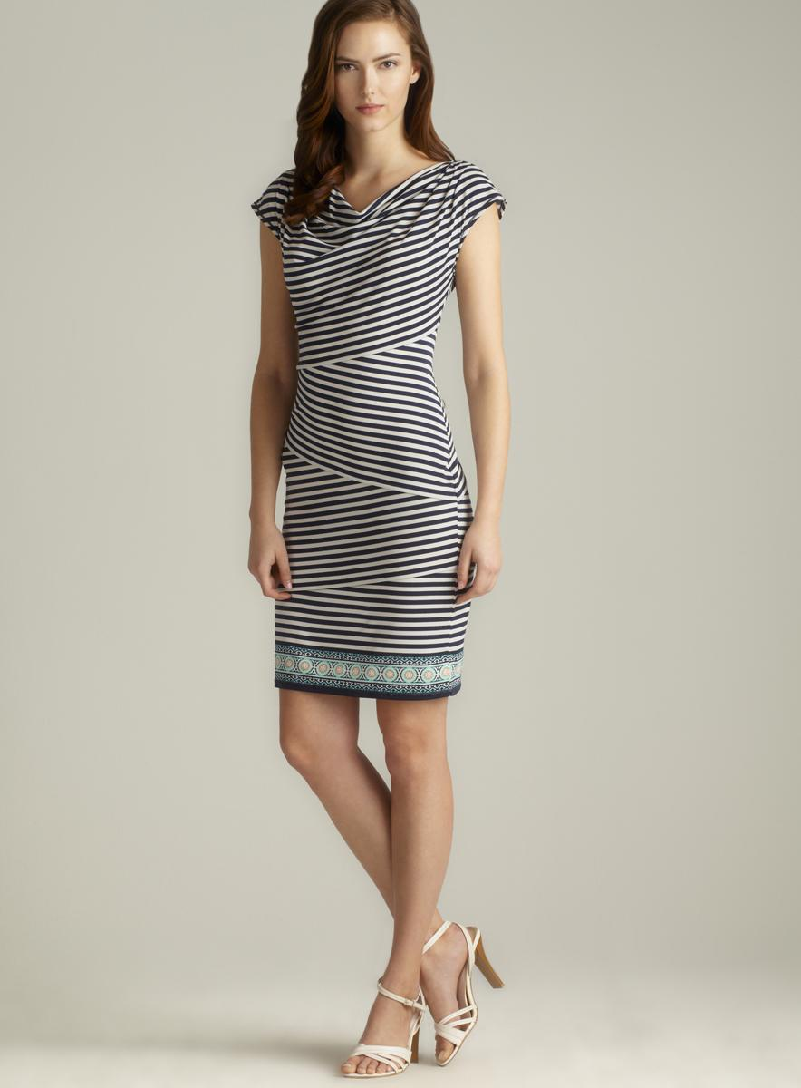 Max Studio Draped Neck Striped Jersey Dress