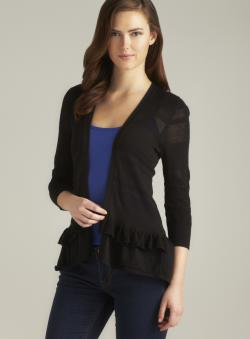 August Silk Black Ruffle Hem Flyaway Cardigan
