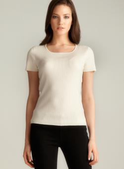 August Silk Ivory Short Sleeve Ribbed Sweater