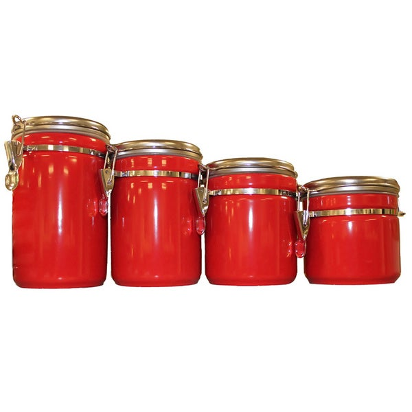 red ceramic canister set 4pc kitchen counter storage jars the functional kitchen canister sets kitchen canisters