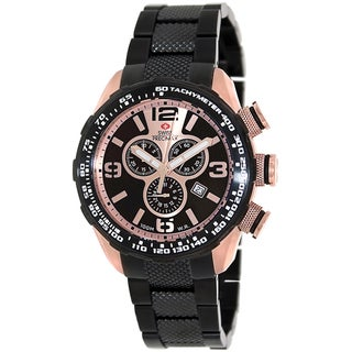Swiss Precimax Men's Deep Blue Pro III SP13133 Black Stainless Steel Rose Gold Dial Swiss Chronograph Watch