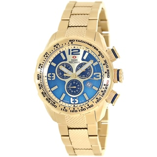 Swiss Precimax Men's Deep Blue Pro III SP13135 Gold Stainless Steel Gold Dial Swiss Chronograph Watch