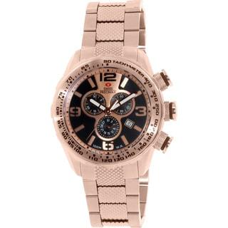 Swiss Precimax Men's Deep Blue Pro III SP13134 Rose-Gold Stainless Steel Rose Gold Dial Swiss Chronograph Watch