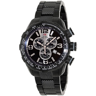 Swiss Precimax Men's Deep Blue Pro III SP13129 Black Stainless Steel Silver Dial Swiss Chronograph Watch