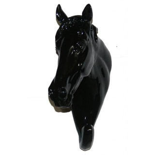 Black Set of 2 Ceramic Horse Head Hook