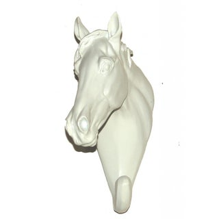 White Set of 2 Ceramic Horse Head Hook
