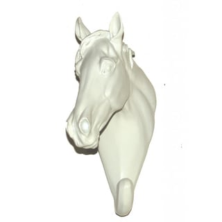 Crown Lighting White Ceramic Horse Head Hook (Set of 2)