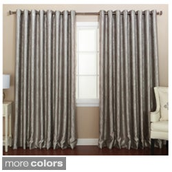 Traditional Damask Wide Width Grommet Curtain Panel Pair