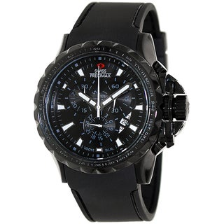 Swiss Precimax Men's 'Command Pro Sport' Black Dial Polyurethane Swiss Chronograph Watch