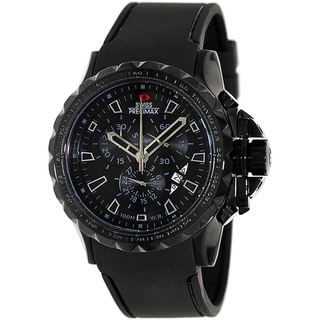 Swiss Precimax Men's 'Command Pro Sport' Black Dial Swiss Chronograph Watch with Buckle Clasp