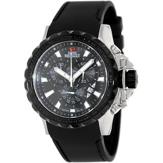 Swiss Precimax Men's 'Command Pro Sport' Black Dial Swiss Chronograph Watch with Tachymeter Bezel