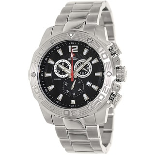 Swiss Precimax Men's 'Legion Pro' Black Dial Swiss Chronograph Silvertone Watch