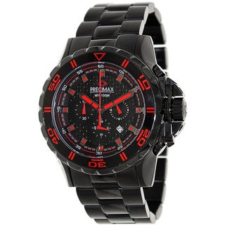 Precimax Men's 'Carbon Pro' Black/ Red Chronograph Watch