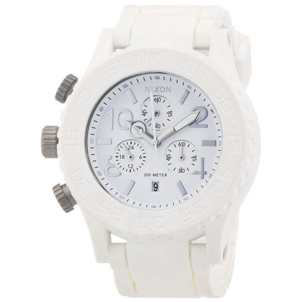 Nixon Rubber Strap White Dial Chrono Watch