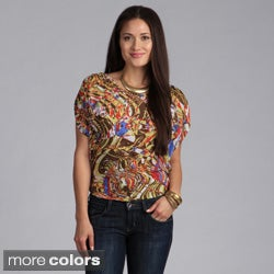 Derek Heart Women's Printed Short Sleeve Top