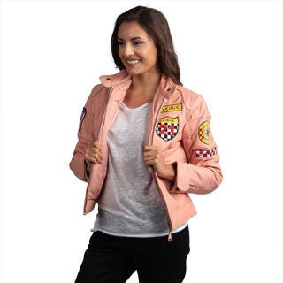 Pink Leather Moto Racer Jacket