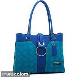 Dasein Colorblocked Weave Texture Shoulder Bag