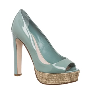 Miu Miu Womens' Light Mint Patent Leather Peep-toe Pumps