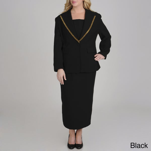 Giovanna Signature Plus Size Washable Mock 3-piece Skirt Suit