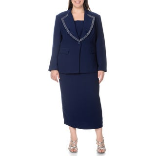 Giovanna Signature Women's Plus Novelty Trimmed Mock 3-piece Skirt Suit