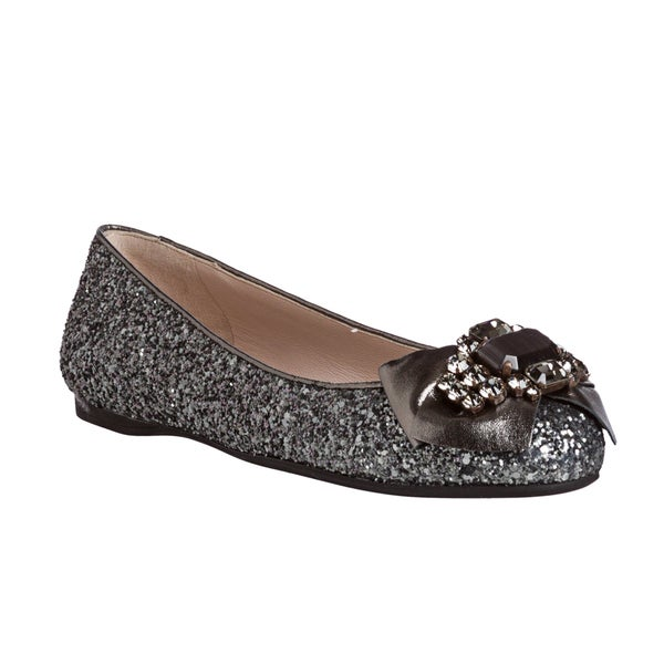 Miu Miu Women's Anthracite Glitter Embellished Bow Flats