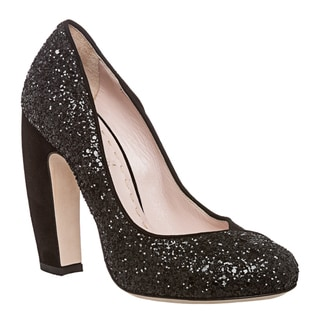Miu Miu Women's Black Suede and Glitter Pumps