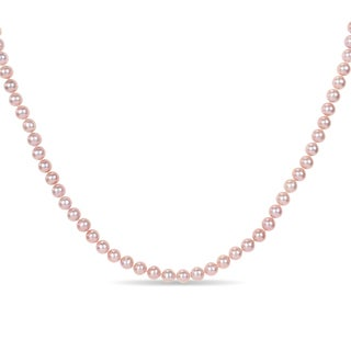 Miadora Sterling Silver Freshwater Pink Pearl Necklace (6-7 mm)