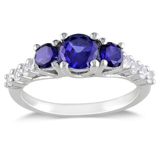 M by Miadora Sterling Silver Created Blue and White Sapphire 3-stone Ring