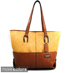 Dasein Two-tone Weave Textured Tote