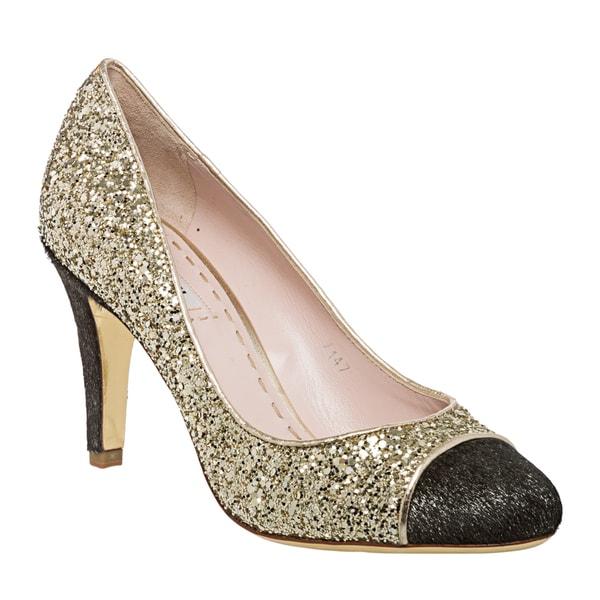 Miu Miu Women's Gold Glitter Wrapped-toe Pumps