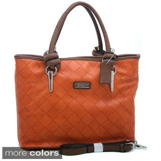 Dasein Checker Weave Textured Tote