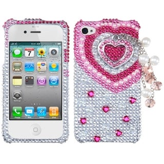 BasAcc Pink Heart Chain 3D Diamond Case for Apple iPhone 4S/ 4