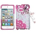 BasAcc Pink Butterfly Chain 3D Diamante Case for Apple iPod touch 4