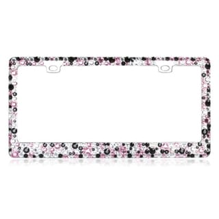 INSTEN Pink/ White/ Black Crystals Metal License Plate Frame