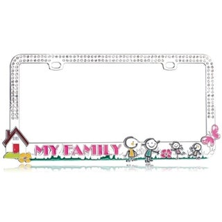 BasAcc Loving Family/ White Crystals License Plate Frame