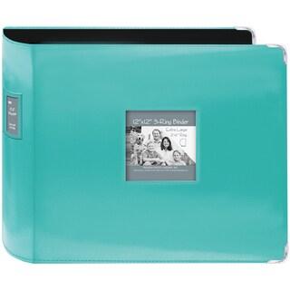 "Sewn Leatherette 3-Ring Binder 12""X12""-Bright Blue"